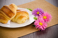 Croissants with orange juice Royalty Free Stock Photos