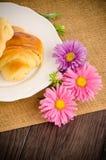 Croissants with orange juice Stock Photo