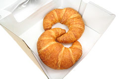 Croissants in pastry box Royalty Free Stock Photo