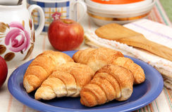 Croissants on a plate. Royalty Free Stock Photo