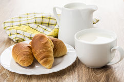 Croissants in plate, jug and cup of milk, checkered napkin Royalty Free Stock Images