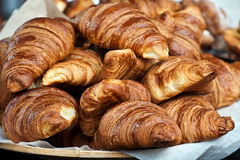 Croissants. On a plate on market stall Royalty Free Stock Images