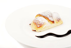 Croissants in the plate on white background Stock Photo