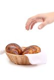 Croissants with poppy in basket. Royalty Free Stock Images