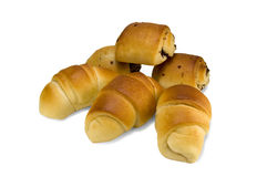 Croissants and puffs. On white background Stock Images