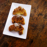 Croissants. A rectangular dish with 3 croissants Stock Images