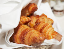 Croissants on restaurant table Royalty Free Stock Photo