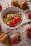Croissants and strawberries Stock Photography