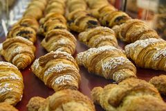 Croissants with sugar in a pastry shop. Food and delicius for taste pleasure stock photography
