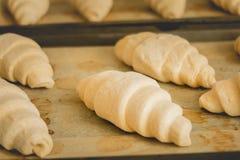Croissants surgelés sur faire cuire le papier photographie stock