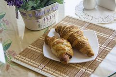 Croissants on table Stock Images