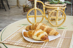 Croissants on table in cafe Royalty Free Stock Photo