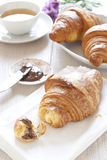 Croissants on table with chocolate Royalty Free Stock Image