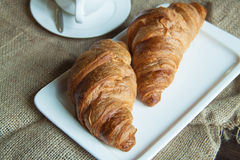 Croissants and tea Royalty Free Stock Images