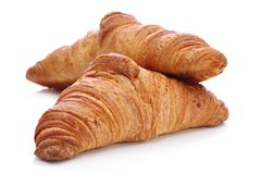 Croissants, traditional French pastry Stock Photos