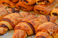 Croissants. On a tray in Israel closeup Stock Photography