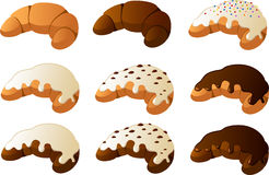 Croissants. Vector illustration of various kinds of croissants Royalty Free Stock Photo