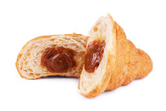 Croissants on a white background, croissants with condensed milk Stock Photography