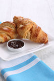Croissants on white plate Royalty Free Stock Photos