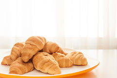 Croissants in a white plate. Mini croissants in a plate on a table with natural light Stock Photography