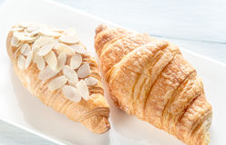 Croissants on the white plate: top view Royalty Free Stock Images