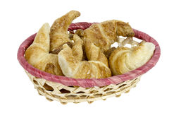 Croissants in a wicker basket Royalty Free Stock Images