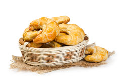 Croissants in a wicker basket Royalty Free Stock Image
