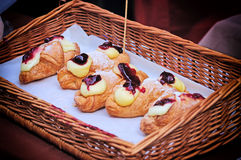 Croissants. In a wooden wattled tray royalty free stock photo