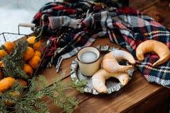 Croissants y café Fotografía de archivo
