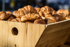 Croisssants on sale at a local farmers market. Freshly baked Croisssants on sale at a local farmers market Royalty Free Stock Photography