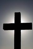 Croix éclairée à contre-jour simple photos libres de droits