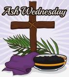 Croix, étole, branche de paume et cuvette en bois pour Ash Wednesday, illustration de vecteur illustration libre de droits
