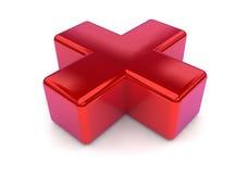 Croix 3D rouge Images stock