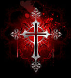 Croix argentée gothique Images libres de droits
