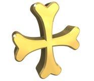 Croix arménienne en or - 3D illustration stock