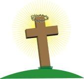 Croix avec la tête des épines Photographie stock libre de droits