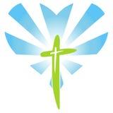 Croix avec les rayons de la lumière en forme de coeur Images stock