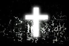 Croix blanche sur le noir abstrait Photographie stock