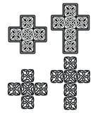 Croix celtique - ensemble de conceptions traditionnelles dans le noir Photos libres de droits