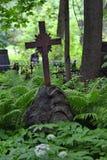 Croix chrétienne dans les bosquets sauvages de la végétation verte dans le vieux cimetière photo stock