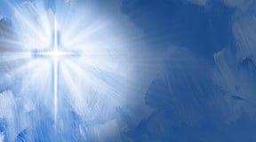 Croix chrétienne graphique avec la lueur intérieure Images stock
