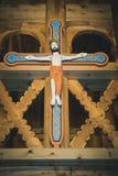 Croix chrétienne Handcrafted avec Jesus Christ photographie stock libre de droits