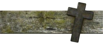 Croix chrétienne sur la vieille planche en bois Image libre de droits