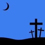 Croix chrétiennes sur le fond bleu image libre de droits