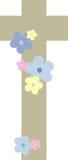 Croix décorée des fleurs (i) Photographie stock libre de droits