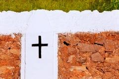 Croix d'église d'Ibiza Sant Mateu d Albarca San Mateo photo stock
