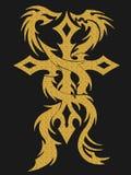 Croix d'or et illustration de dragons photo stock