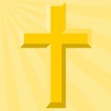 Croix d'or et rayon de soleil lumineux - illustration Photos libres de droits