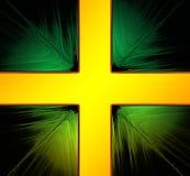Croix d'or sur un fond vert illustration de vecteur