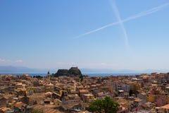 Croix dans le ciel au-dessus de Kerkyra Photographie stock